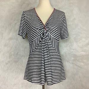 Ett:twa Black & White Striped Twist Front Top